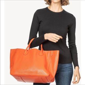 Beck Pebbled Leather Marie Orange Tote Medium